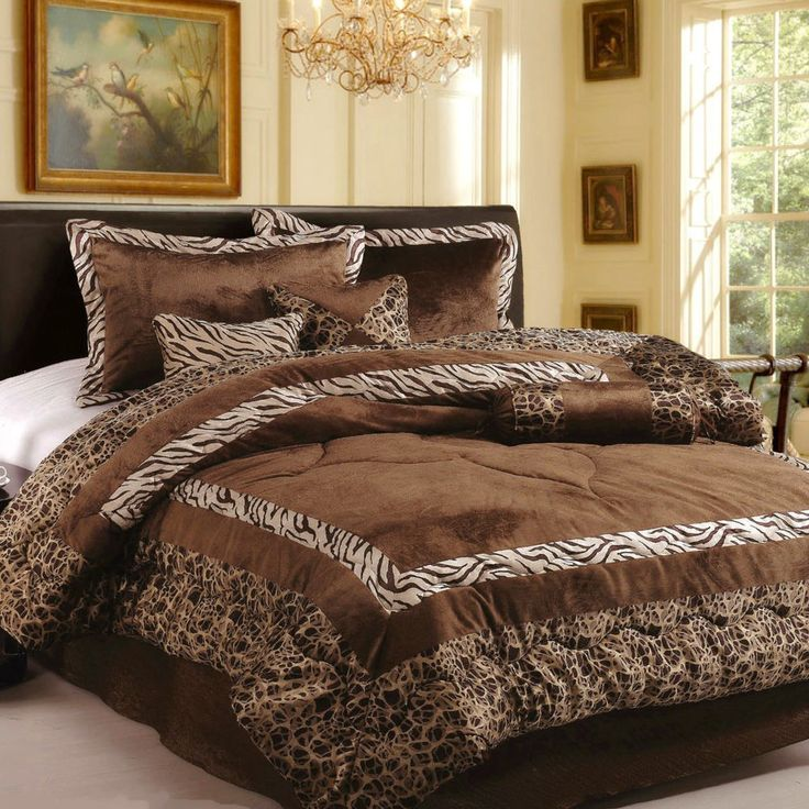 15pc Brand New Luxury Safarina Brown Coffee Queen Comforters Set With Curtain Retrodecors