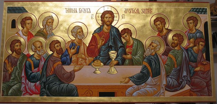About 38 by 17 inches; for the iconostasis of Holy Protection Russian Orthodox Church, Goshen, IN. Intended as the central panel over the Royal Doors, to be flanked by the Holy Liturgists.