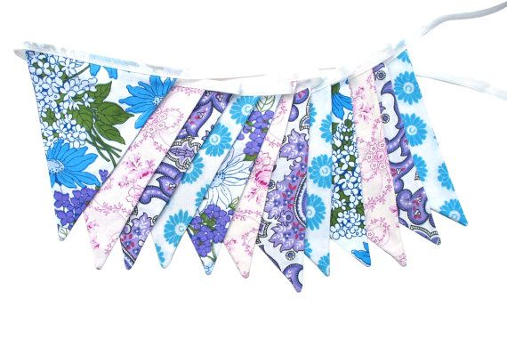 Vintage Retro Blue Purple Pretty Floral Flag Bunting. Bedroom Wall hanging decor, Birthday Parties, Garden Party, Wedding decoration