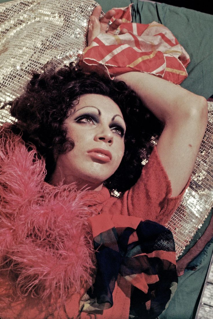 Holly Woodlawn photographed in her Greenwich Village apartment in 1970. Photograph: Jack Mitchell/Getty Images