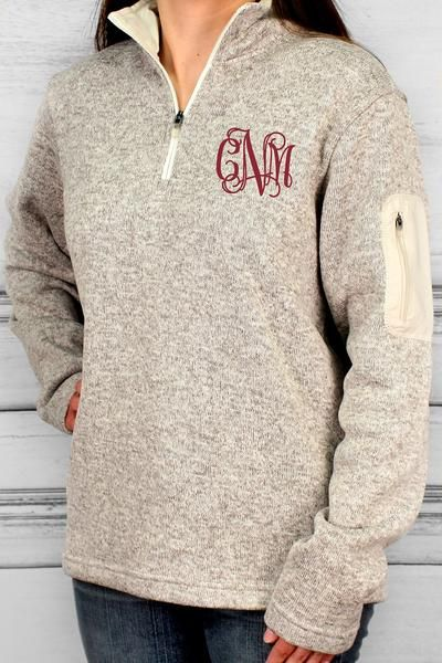 Charles River Heathered Fleece Pullover (Men's Cut), Oatmeal Heather #ewamboutique #monogram #monogrammedpullover