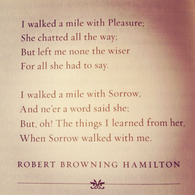 """Along the Road"" by Robert Browning Hamilton.  Ah, so very true."