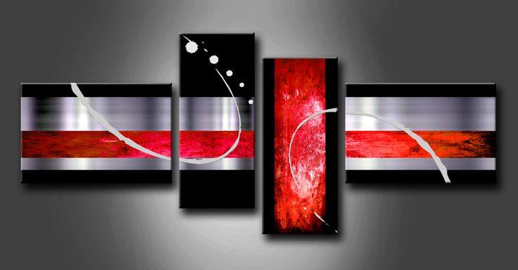 Cuadro abstracto rojo formado por 4 piezas varios tama os - Cuadros abstractos para salon ...