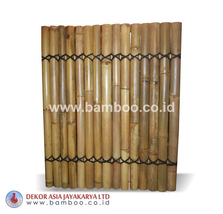Half cut Natural bamboo fence 2 back slats black coco rope