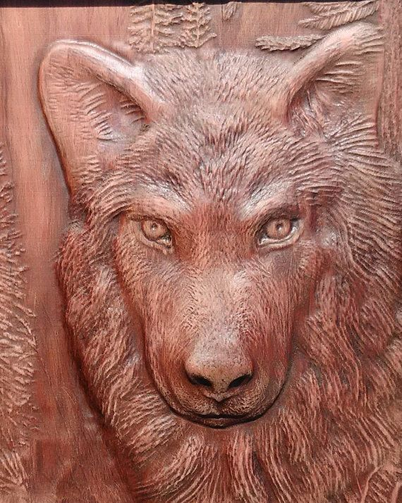 Lobo madera pared colgante Home Decor Animal tallado madera