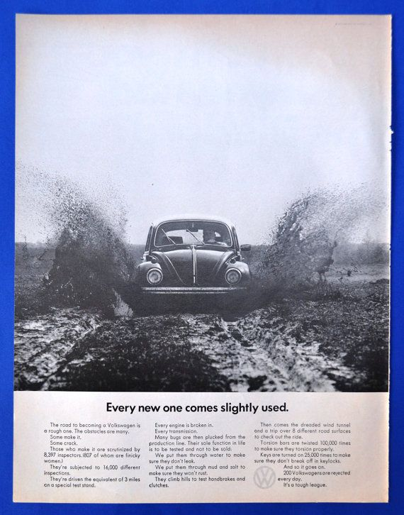1968 Volkswagen Beetle Bug Driving Thru Mud New One Comes Slightly Used ad