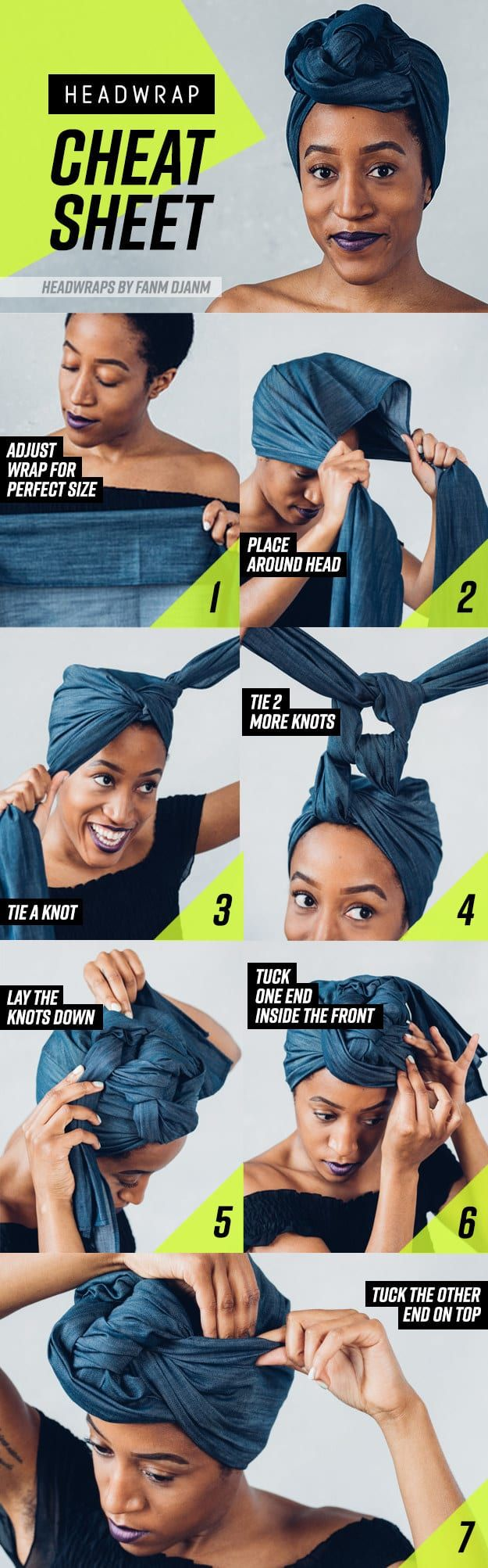 8 Head Wrap Cheat Sheets If You Don't Know How To Tie Them. Protective style for natural hair