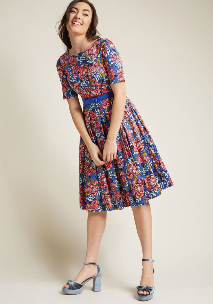 Retro Boat Neck Dress with Pockets in XXS - Fit & Flare Midi by ModCloth
