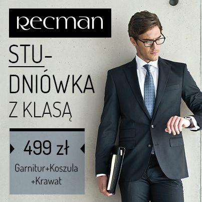 Studniówka z Klasą to garnitur, koszula i krawat w wyjątkowej, specjalnej cenie. Dodatkowo Doradcy w salonach Recman pomogą w wyborze zarówno garnituru, jak i dodatków do niego. Sprawdź co przygotowaliśmy! bit.ly/Recman_Studniówka