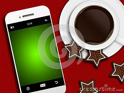 Christmas coffee, gingerbread and mobile phone with place for text lying on tablecloth