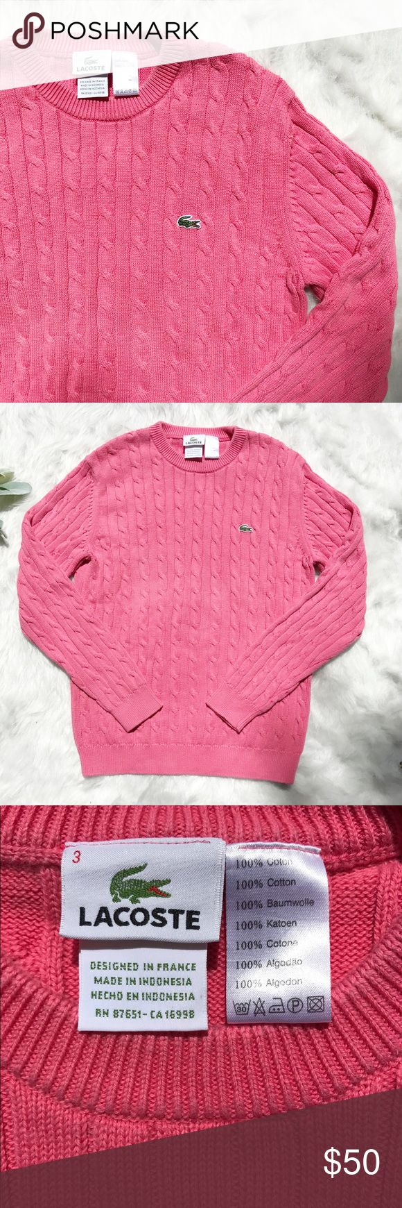 LACOSTE pink sweater size 3 LACOSTE pink sweater in size 3/small. Excellent contrition without flaws. Lacoste Sweaters