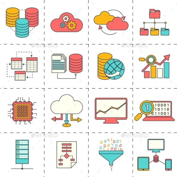 Data Analysis Flat Line Icons — Vector EPS #server #internet • Available here → https://graphicriver.net/item/data-analysis-flat-line-icons/9476970?ref=pxcr