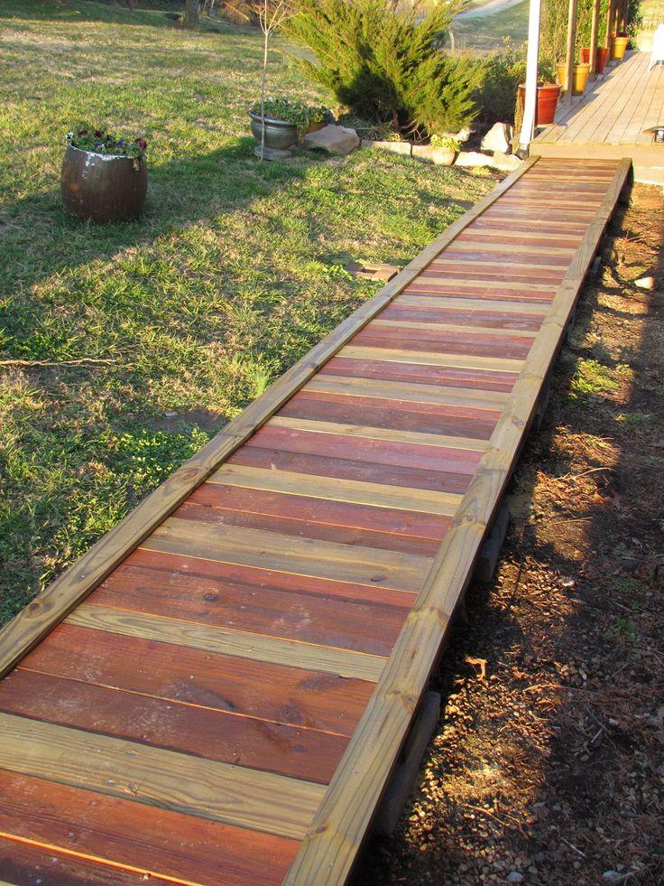 pin by amy meekins on outdoors fire pits wooden walkways wooden garden wood walkway. Black Bedroom Furniture Sets. Home Design Ideas