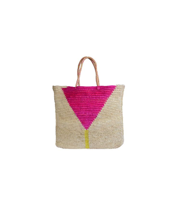 Martinique Fuchsia Straw Tote by Prymal