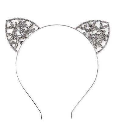 Look what I found on #zulily! Gray & Black Embellished Floral Cat-Ear Headband #zulilyfinds
