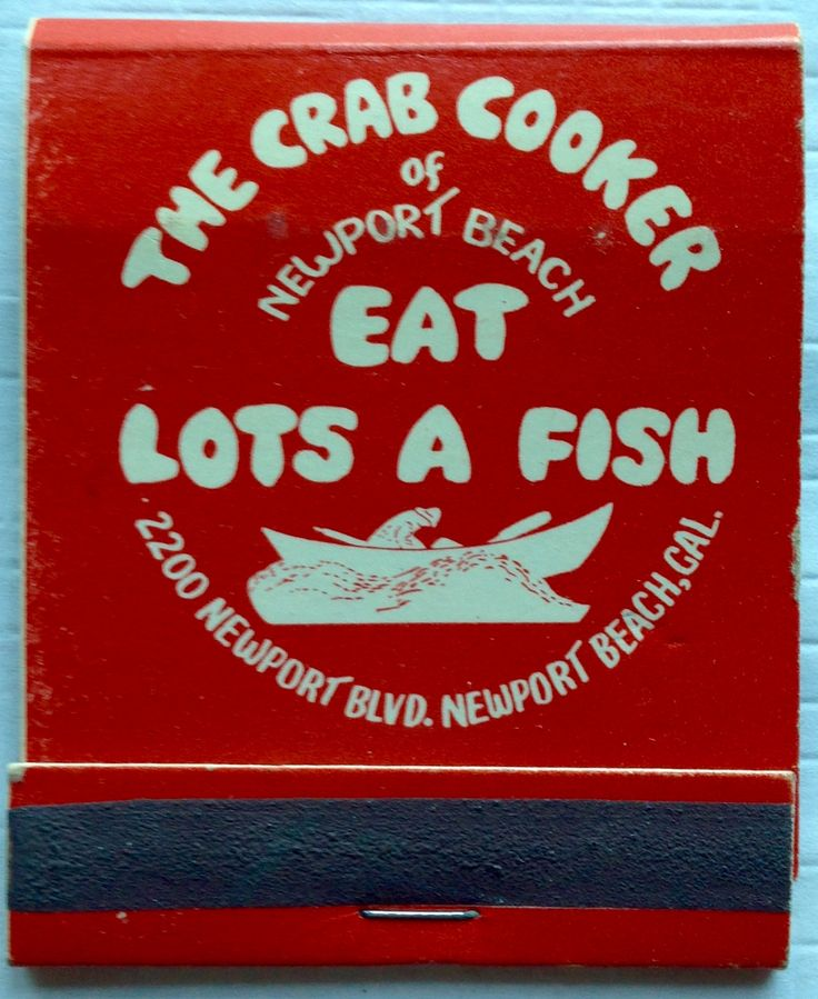 The Crab Cooker, Newport Beach #matchbook - To design & order your business' own logo #matches GoTo: GetMatches.com #phillumeny