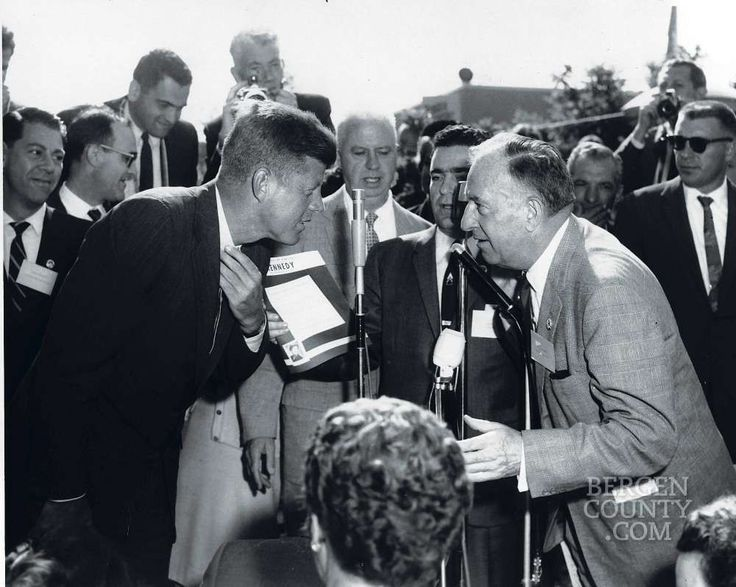 Herman Hoffman, Democratic state committeeman from Bergen County, holds the attention of John F. Kennedy, stumping at Bergen Mall in Paramus on Sept. 15, 1960.