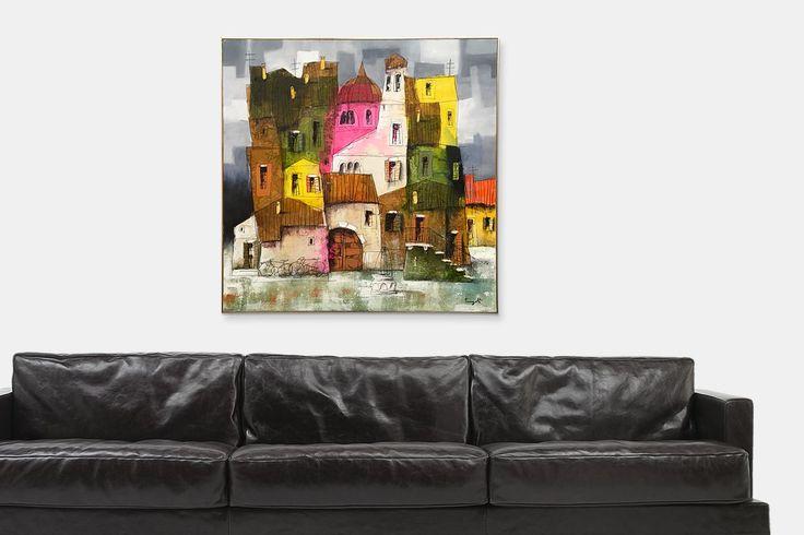 Dipinto di borgo italiano dell'artista Paolo Fumagalli | fluidofiume Galleria d'arte