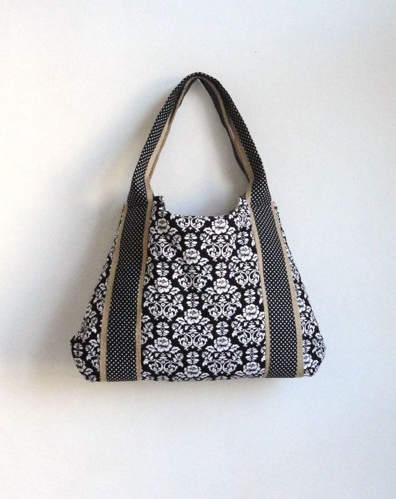 Bekijk dit items in mijn Etsy shop https://www.etsy.com/listing/94221040/damask-burlap-tote-bag-with-polka-dots