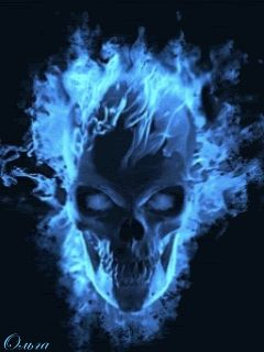 Animated Flaming Skull   It's a .gif, but it's a good representation.)