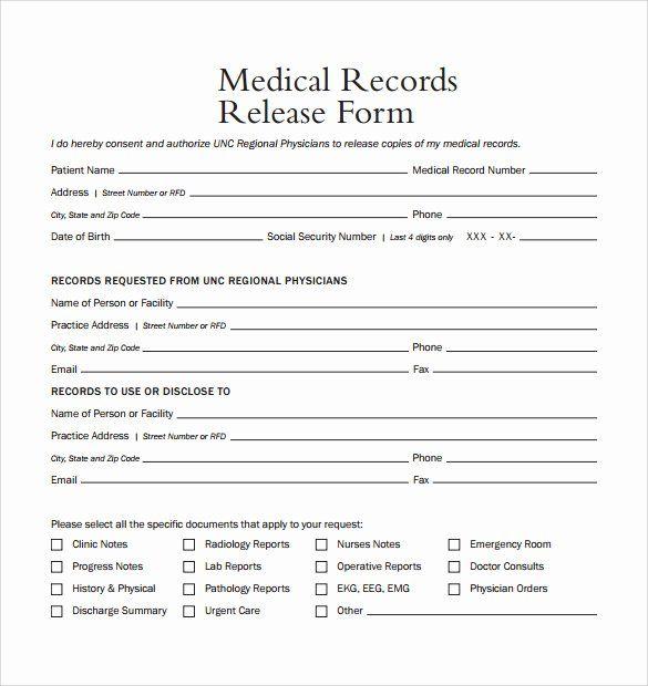 Free Printable Medical Release Form Fresh Medical Release Form Medical Records Medical Record Medical