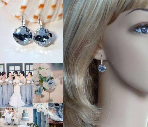 Handmade Pale Blue Grey Swarovski Blue Shade Crystal Fancy