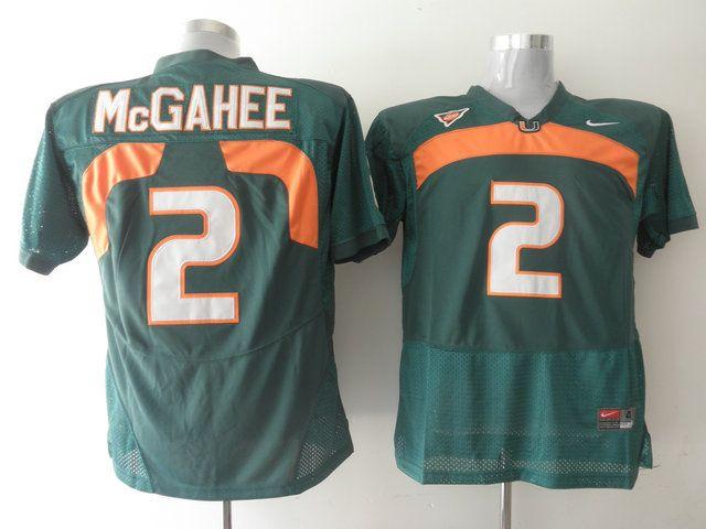 Men's NCAA Miami Hurricanes #2 Willis McGahee Green Jersey