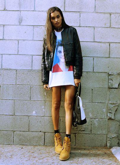 Gizele Oliveira - Primark Backpack, Timberland Boots - Bieber