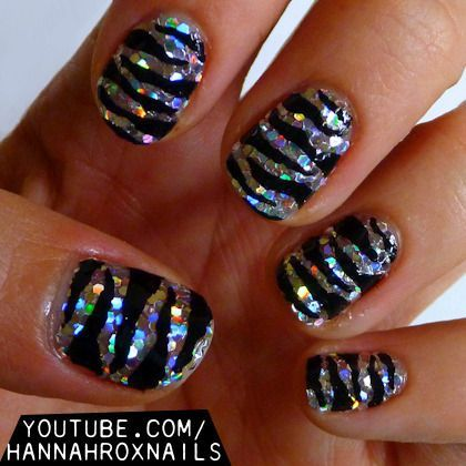 Sparkly zebra print nails - glam nail ideas