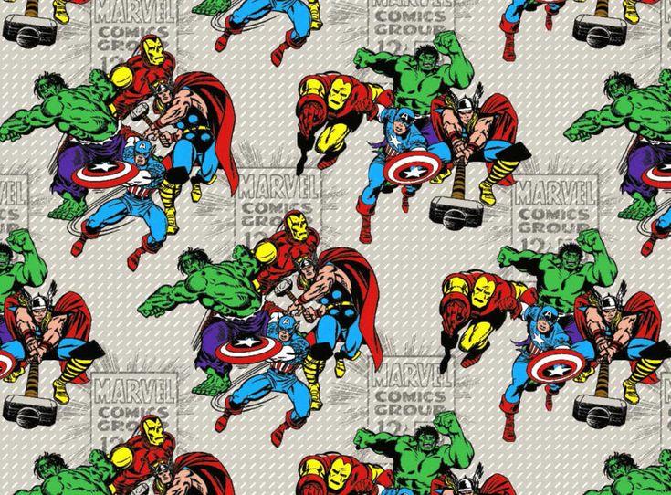 MARVEL RETRO COMIC GROUP AVENGER CHARACTERS SUPERHERO 100% COTTON FABRIC YARDAGE #Marvel