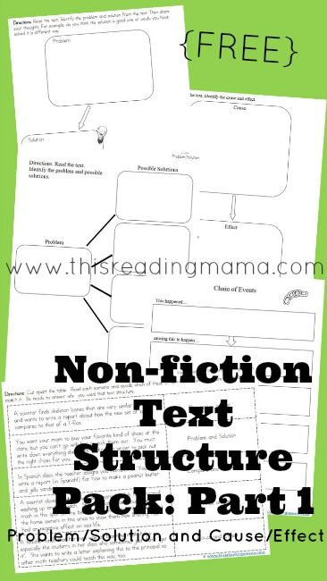 Non-fiction Text Structure Pack for Problem/Solution and Cause/Effect ~ Free Graphic Organizers for teaching comprehension   This Reading Mama