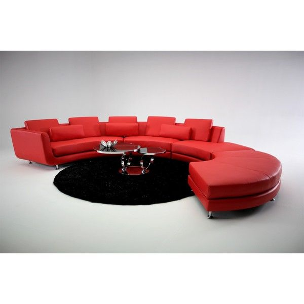 a94 red leather sectional sofa liked on polyvore featuring home