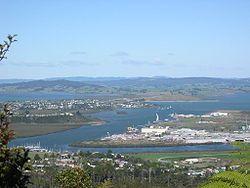 Whangarei Harbour from Mt. Parihaka with the suburbs of Onerahi, Sherwood Rise, Parihaka and Port Whangarei in view.