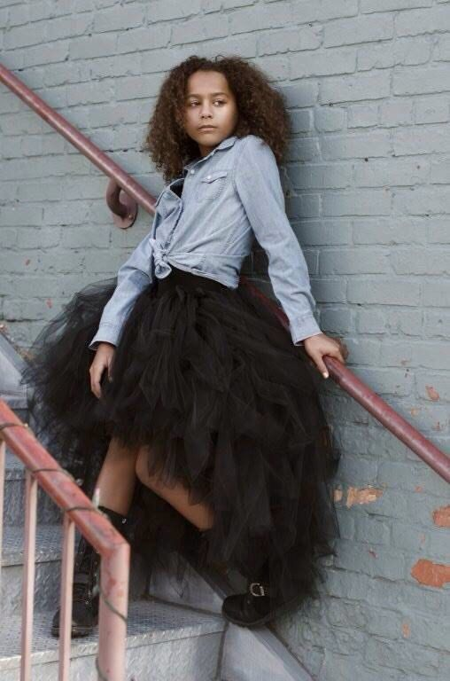 Adult High Low Long Tutu Skirt   Black  by PinkPosieCouture
