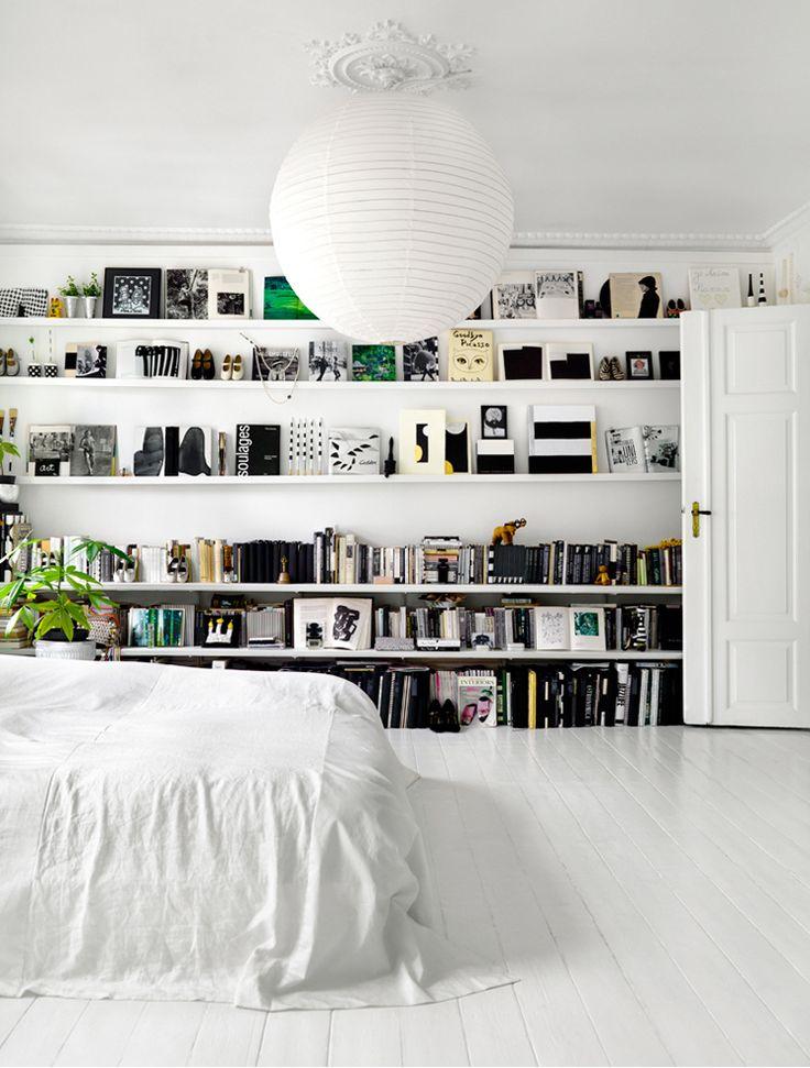 bookshelves in the bedroom