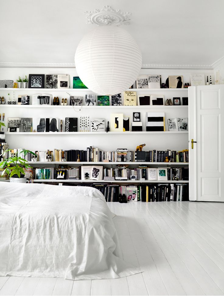 bookshelves in the bedroom