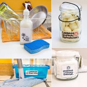 Make These 20 DIY Cleaning Products For Pennies If you're tired of reaching for cleaning products with ingredients you can't even pronounce, then head to your local grocery store for a few basic components and make your own. These eco-friendly concoctions will leave your house sparkling. From window cleaner to grout whitener, you'll be amazed at how easy these DIYs are to pull off. by madelyn