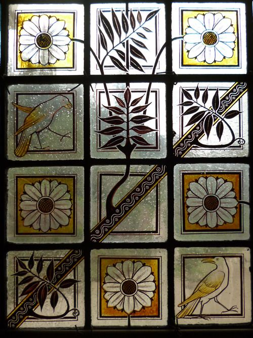 Victorian hand-painted stained glass.
