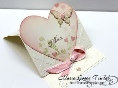 A La Pause: Visite à Anik - Carte d'Amour, Marie-Josée Trudel, Stampin'Up!, Papaya Collage, Bonté Epanouie, Blooming with Kindness, Framelits coeurs, hearts: Stampinup, Valentine Card, Scrapbooking, Cardmaking, Heart Cards