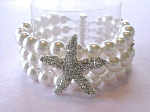 Handmade Crystal Starfish & Pearl Bracelet Beach Wedding