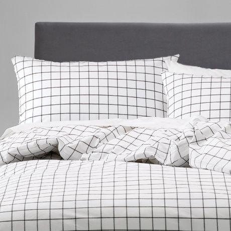 Geometric grid quilt cover. William Queen Quilt Cover Set from Freedom Australia