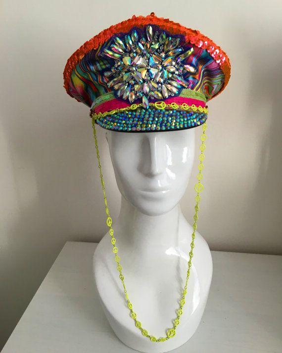 Neon black light hippy burning man hat, unisex medium large, rainbow colorful festival headdress military officers cap