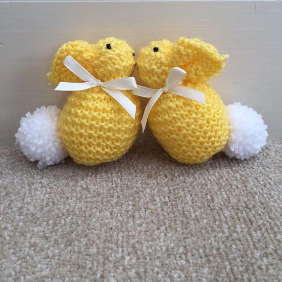 Bright yellow hand knitted bunnies baby gift crib toy nicu