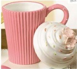 Sweet Soiree Cupcake Ceramic Coffe Mug with Top- Pink