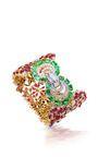 Farah Khan Mozambique Ruby Bracelet With Zambian Emerald Lock by FARAH KHAN FINE JEWELRY for Preorder on Moda Operandi