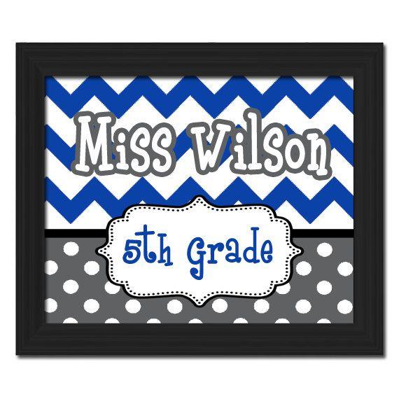 Custom Printable PDF File DIY Chevron Polka Dots Circles Teacher Name Sign Letters School Gift Classroom Decor Wall Art Door