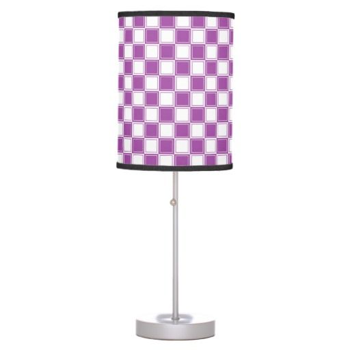 Lined Checkered Purple and White Table Lamp