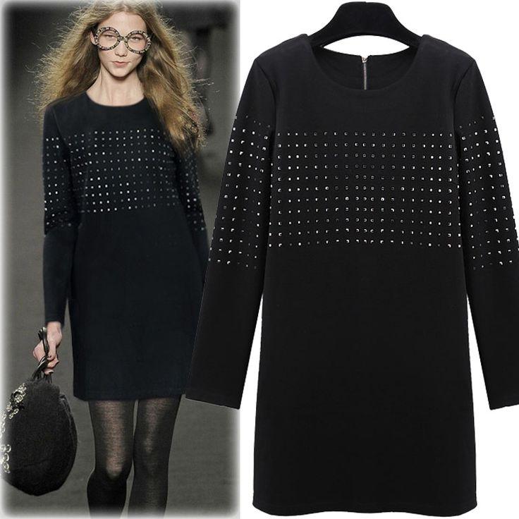 (give GIFT) Plus Size Women Dresses Casual Solid Rivet Autumn Dress Long Sleeve O-neck Mini Black Long T Shirt Dress