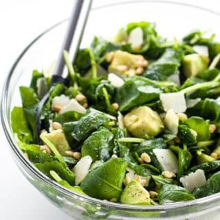 Baby Kale Avocado Salad with Lemon Garlic Vinaigrette & Parmesan + GIVEAWAY