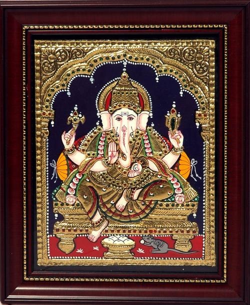 vinayagar tanjore painting - Google Search